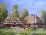 chaty i żuraw w skansenie w Kuligowie, olej, płótno 40 x 50 cm