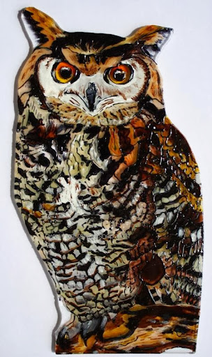 Glas uil, Owl from glass, Buho de vidrio.