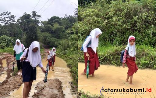 Jalan Rusak di Sukabumi, Pelajar Tenteng Sepatu dan Pasien Sakit di Tandu