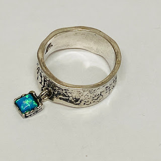 Sterling Silver & Blue Pendant Ring
