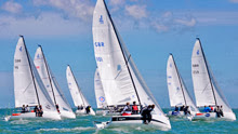 J/70 one-designs sailing upwind at Cowes Race Week