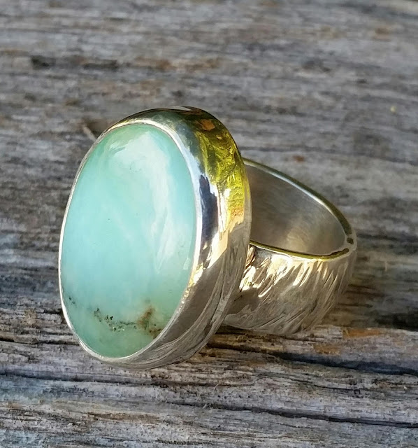 peruvian blue opal gemstone ring sterling silver wide band ring
