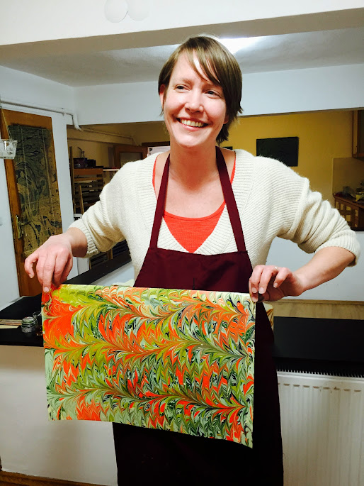 Jen with Ebru art in her hand