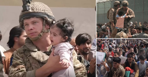 Afghanistan: Soldier who went viral after he was pictured cradling a baby over wall in Kabul airport says the photo 'sums up what troops are doing'