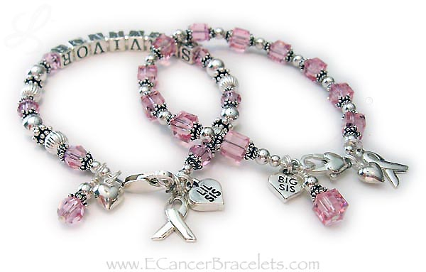 Breast Cancer Survivor Sisters Bracelets with Sister and Ribbon Charms