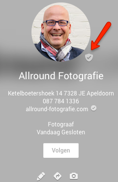 Geverifieerde Google+ pagina