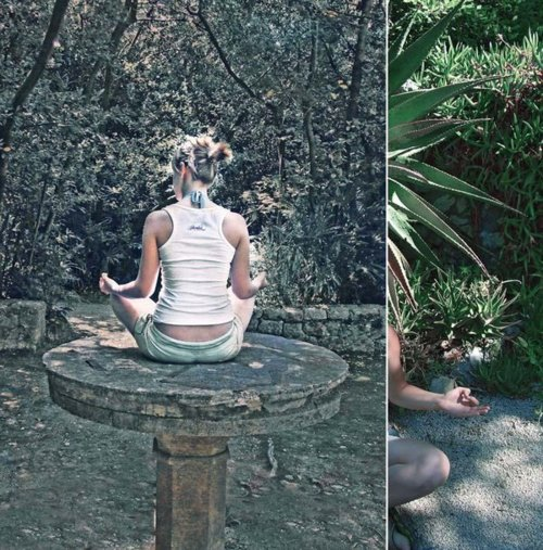 Meditation In Garden, Yoga And Meditation