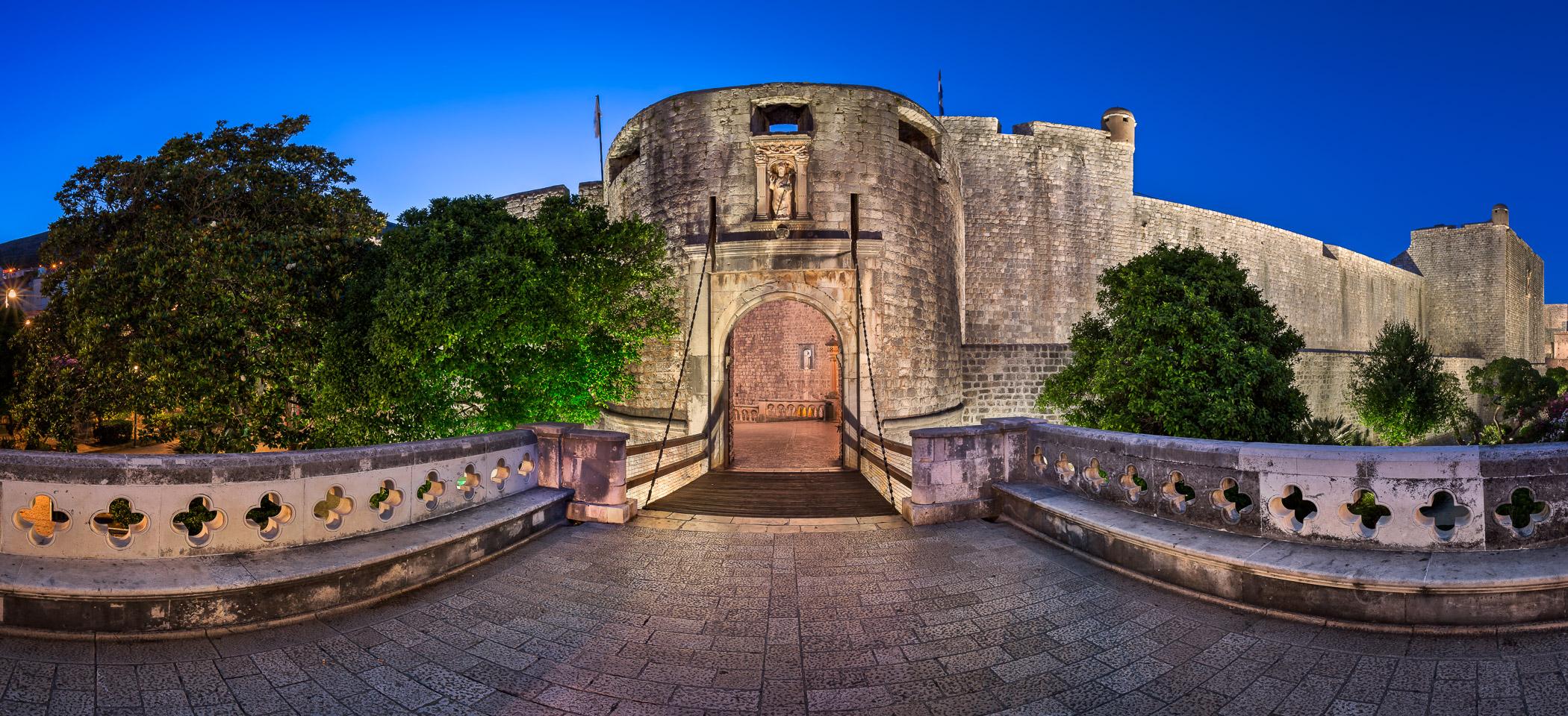 Dubrovnik Pile Gate and Draw Bridge in the Morning, Dubrovnik, Croatia