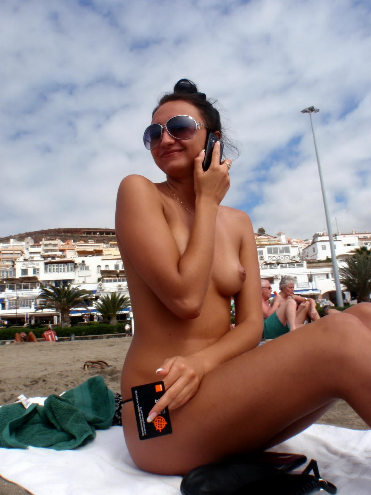 Sexy European Brunette Topless On Vacation At The Beach -4852