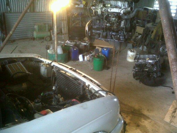 Hard days labour - Mazda engine transplant - Pajero Owners