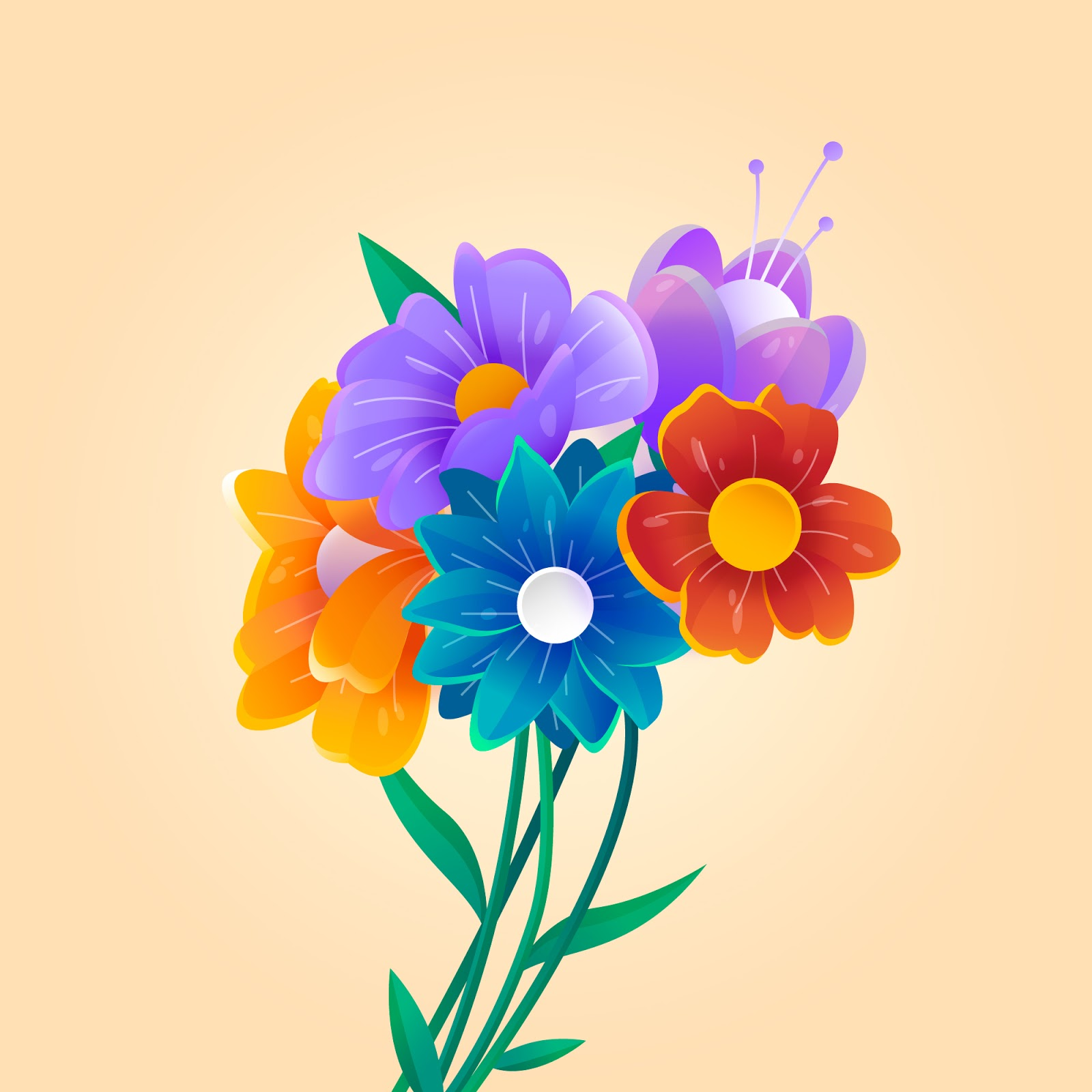 Gradient Spring Paper Style Flowers Free Download Vector CDR, AI, EPS and PNG Formats