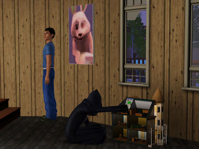 Sims 3 Screenshot: Death plays with a dollhouse