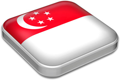 Flag of Singapore with metallic square frame