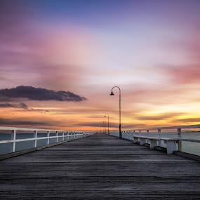 One more pier by Zubair Aslam - Buildings & Architecture Bridges & Suspended Structures ( kerfered road pie, picturesnme, port melbourne, melbourne, sunset, pier, long exposure, longexposure, zubairphotography )
