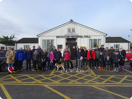 Walkers and dogs at the start at Wistaston Memorial Hall