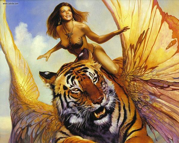 Flying Tiger And Girl, Magic Beauties 2
