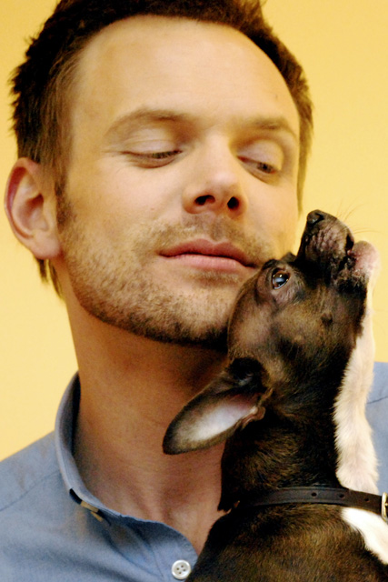 Joel McHale and Lou the chihuahua