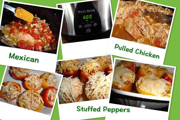 Mexican Pulled Chicken Stuffed Peppers
