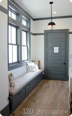 hall bench with gray trim