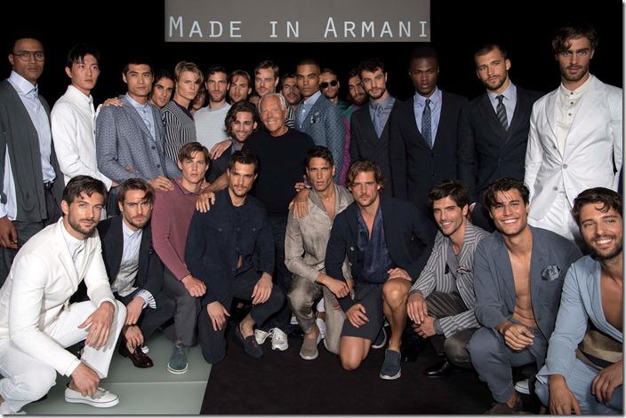 Giorgio Armani Menswear SS18_Giorgio Armani and models