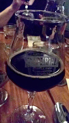 Imperial Bottle Shop and Taproom presents The Bruery and Coquine Beer Pairing Dinner.  Here for course 6, Bruery Freckle - mole-spiced imperial stout paired with Carolina Gold Rice Pudding with cinnamon, vanilla, orange, and dark chocolate