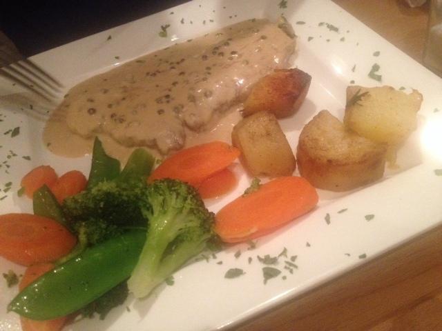 Veal and roast veg at La Cucina, a halal Italian restaurant in Brick Lane, London