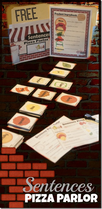 FREE Pizza Parlor Sentences Activity - this is such a fun, clever way to help kids practice writing sentences! This educational game is perfect for first grade, second grade, 3rd grade, 4th grade, and 5th grade students). REUSABLE! Perfect for centers, summer learning, and homeschool students too.