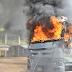 Mob burns Dangote truck for killing Ogun Okada rider