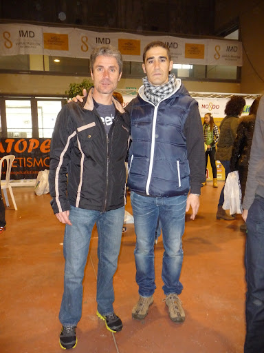 Con Martín Fiz en la feria del corredor