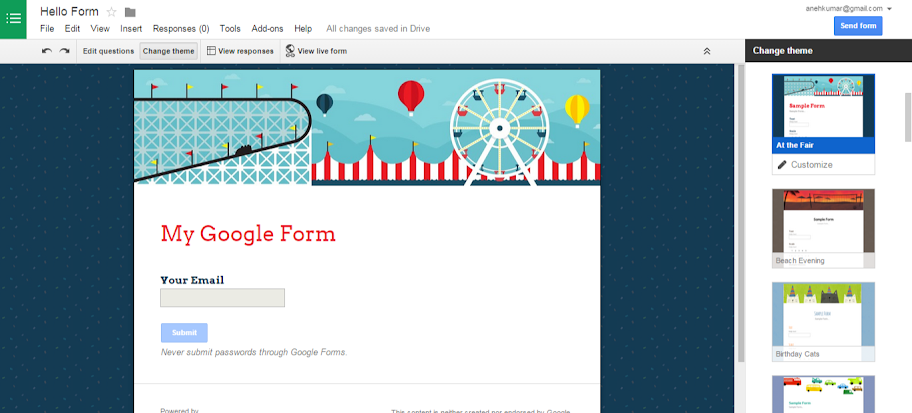 Theme for google form