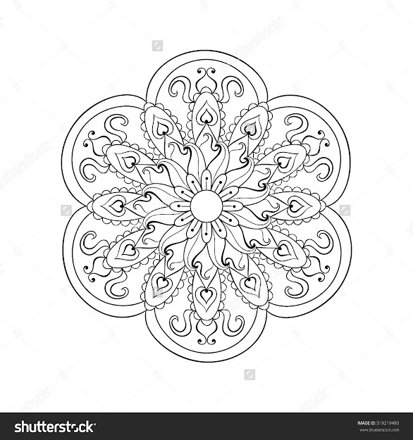 Zentangle Stylized Arabic Indian Mandala Rangoli For Adult Antistress Coloring  Pages