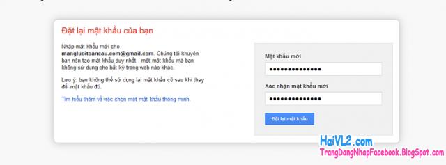 đặt lại mật khẩu gmail