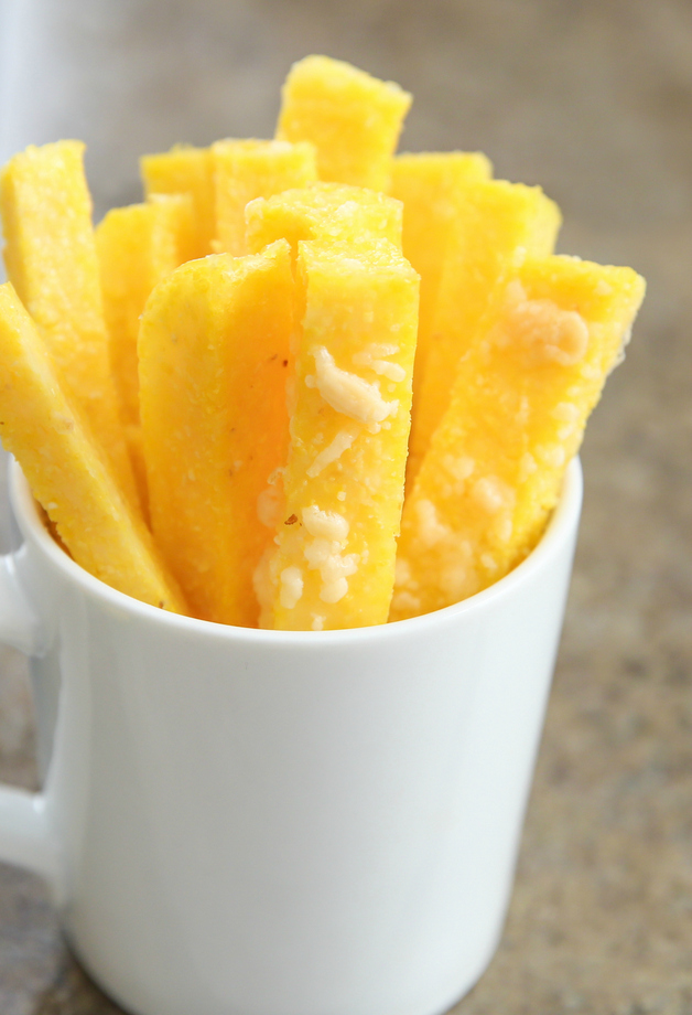 polenta fries in a white mug
