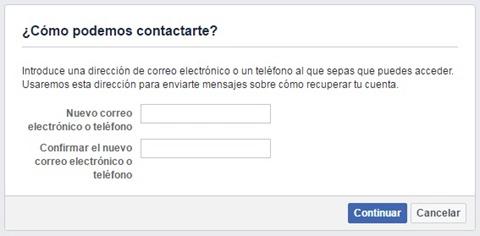 Nuevo correo electrónico para registrar en Facebook