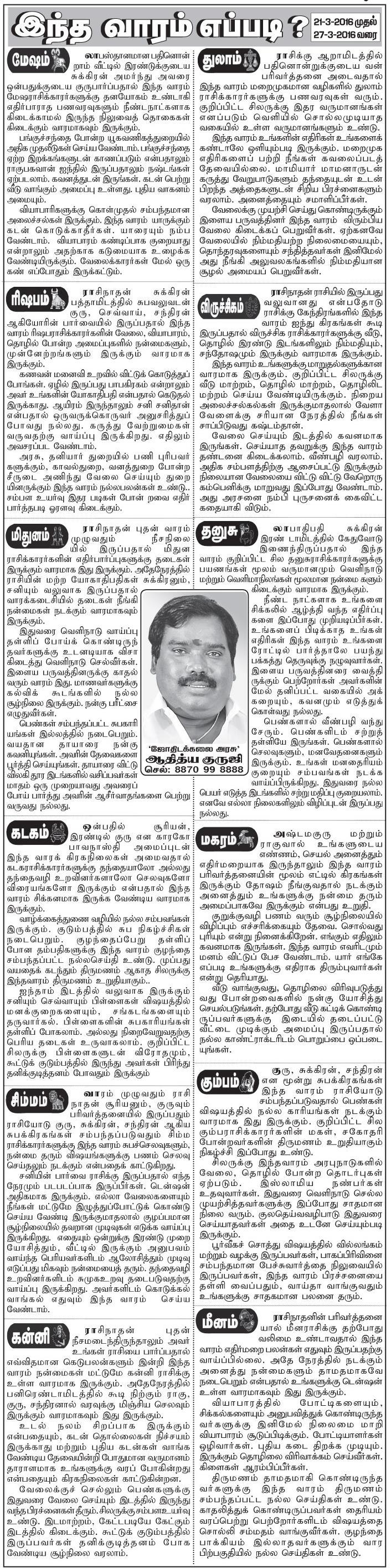 Malaimalar Newspaper Rasipalan