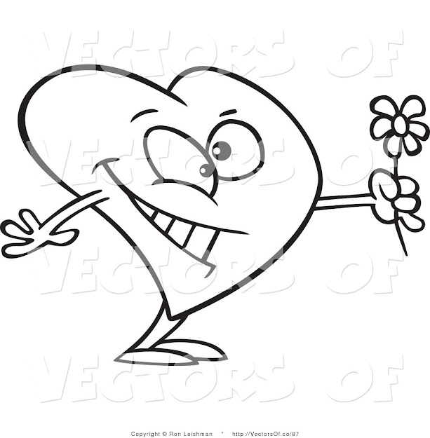 Vector Of Coloring Page Of Romantic Heart Holding Flowers