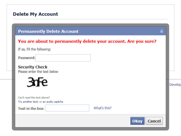 Permanently Delete a Facebook account