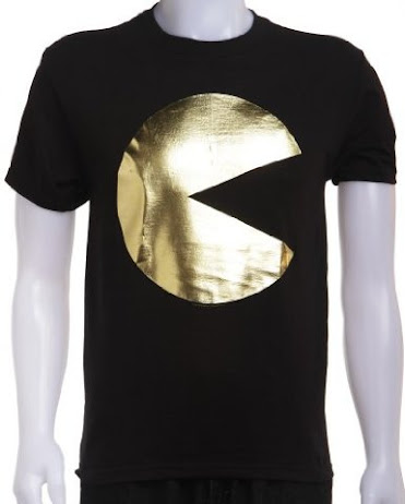 Pac Man+Gold+Foil+T Shirt Top 20 PAC Man Gaming Shirts