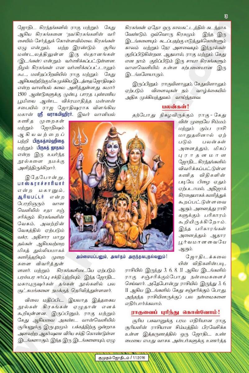 Rahu Ketu Peyarchi by A M Rajagopalan (Kumudam Jothidam) | Raasi Palan