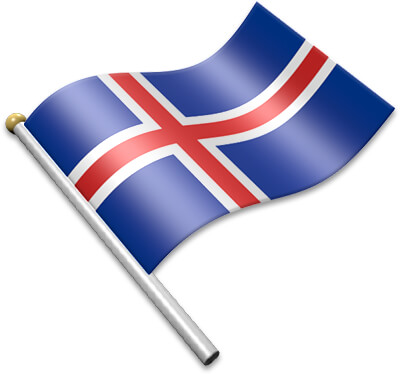 The Icelandic flag on a flagpole clipart image