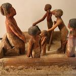 """Egypte - L'audience du maître, """"Modèles"""" déposés dans les tombes (bois de sycomore stuqué polychrome, Moyn Empire, 12e dynastie, vers 1990-1786 av. J.-C.)"""