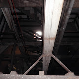 Looking down at the Shot Tower's wooden stair.  The Tower narrows as it rises.