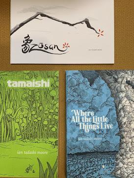Ian's three books: Zōsan, Tamaishi, and Where All the Little Things Live