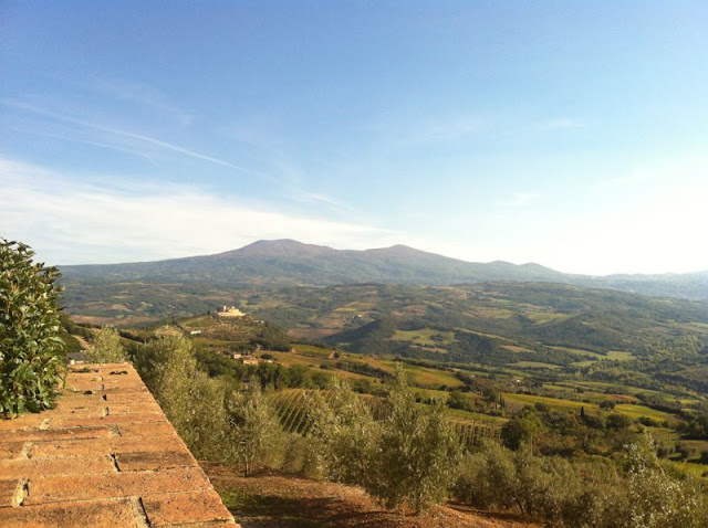 View from Poggio di Sotto towards Castello La Velona and Monte Amiata