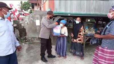 Sisihkan Gaji, Polsek Mastim Beri Bantuan Kepada Warga Terdampak Covid-19