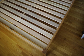 Photo: The horizontal slats are pegged in place to keep them from sliding around under the mattress.