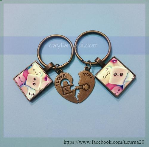 Móc khóa in hình handmade cặp đôi