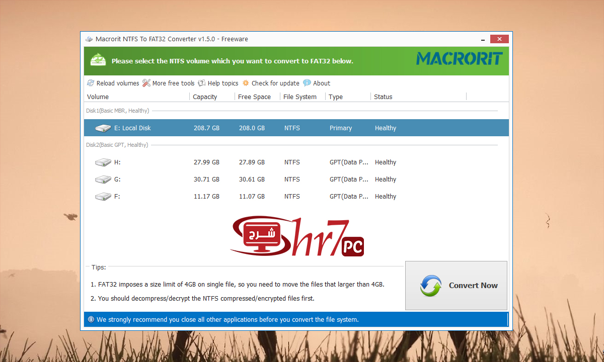 التحويل من NTFS الى FAT32 بأستخدام هذا البرنامج البسيط
