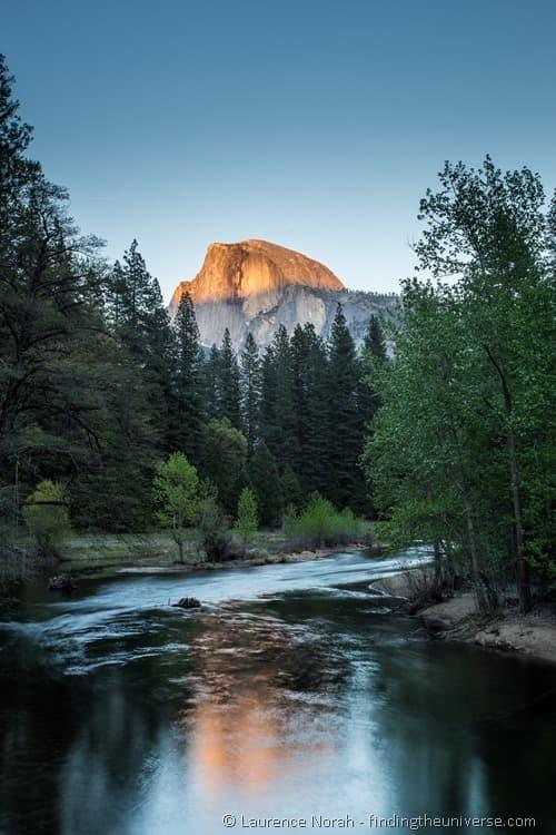 Sunset view of half dome Yosemite