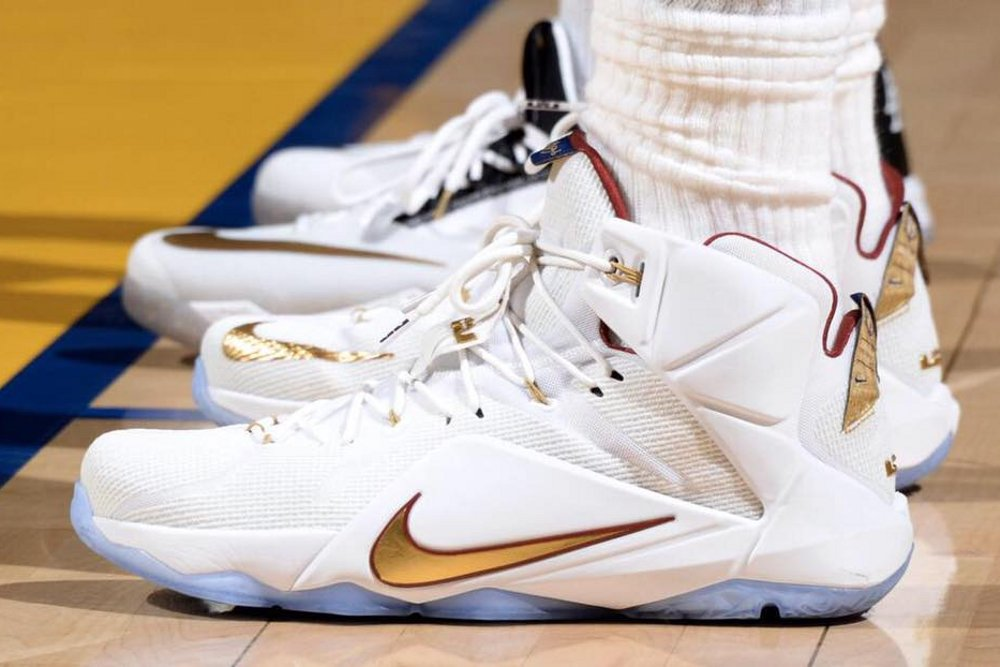 hot sales 6fc4a 17d96 ... Closer Look at Nike LeBron 12 NBA Finals Wine amp Gold PE ...